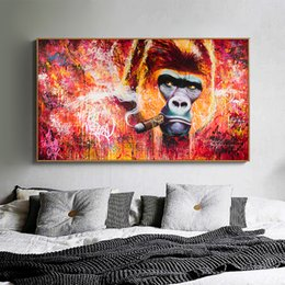 canvas photo prints Australia - Wall art print animal painting on canvas abstract gorilla smoking cigar photo living room home decoration frameless