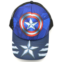 China Anime Captain America Baseball Caps Boy or Girl Clothing Accessories Hats Adjustable Design Mesh Cap for Cosplay Gift supplier japanese costumes for girls suppliers