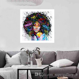 framed portraits NZ - Modern Abstract Handpainted Oil Painting African Girl Portrait on Canvas Wall Decor Multi Sizes Framed Free Shipping p185