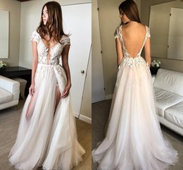 Images White Evening Dresses Australia - Real Image Sexy Split Tulle Lace Prom Dresses V Neck Cap Sleeves White Champagne Floor Length Backless Evening Gowns Formal Dresses