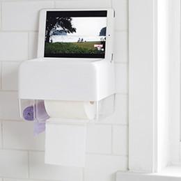 Tissue box wall holder online shopping - Wall mounted Bathroom Tissue Dispenser Tissue Box Holder for Roll Paper Towels Black White Optional Mobile Phone Rack