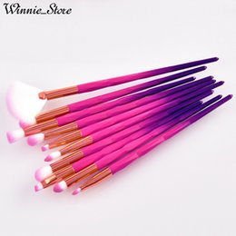 China Factory Direct DHL Free! 10pcs Diamond Makeup Brushes Set For Eyes With Purple Blue Gradient Handle Fan Brush Make up Brushes Tools cheap factory for hairs suppliers