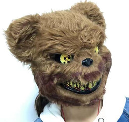 teddy bear fancy dress costume 2019 - Teddy Bear Mask Plush Plastic Full Face Masks Toy Scary Killer Adult Evil Psycho Halloween Costume Fancy Dress Party Mas