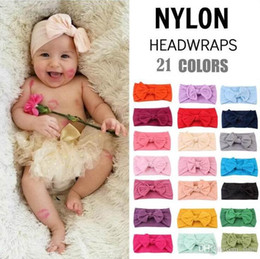 Baby Headbands Bohemia Nylon Super Soft Bowknot Headband 21 Colors For Baby Girls Infant Bow Headwraps Toddler Hair Accessory