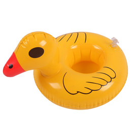 Wholesale Party Inflatables UK - New Inflatable Duck Cup Float Flamingo Cup Holder Coasters Inflatable Drink Holder for Swimming Pool Air Mattresses for Cup Party Supplies