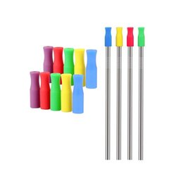 eco straws UK - 8 Colors Stock Silicone Tips for Stainless Steel Straws Tooth Collision Prevention Silicone Straws Cover W8604