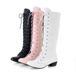 475606c76daf9 Hot Sale- 2016 Plus size 34-43 Women boots Autumn Winter High Knee boots  Sapatos femininos Lace Up Zipper White hot sales