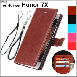 huawei honor wallet cases 2020 - Cheap Wallet Cases Premium Pu leather card holder cover case for Huawei Honor 7X case wallet flip cover Holster discount