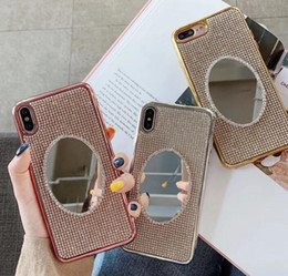 $enCountryForm.capitalKeyWord Australia - luxury fashion Makeup Mirror Diamond Bling cover Cases for iPhone 8 7 Plus TPU Phone Cover for iphone XS Max XR XS X Girls