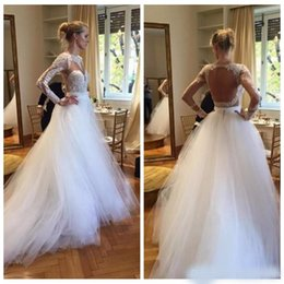 Sheer Shirt Open Back Australia - 2019 Sheer Long Sleeves Lace Appliques A-Line Wedding Dresses Sexy Open Back Tulle Skirt Formal Bridal Gowns Customized Vestidos De Mariee