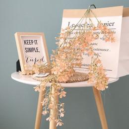 $enCountryForm.capitalKeyWord Australia - 15pcs 5Forks Artificial Fake Plastic Cherry Blossom Sakura Flower Vine Hanging Wedding Home Decor Decorative Flowers Wreath Rattan