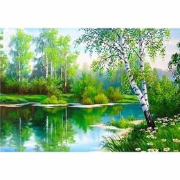 lake paintings UK - 5d Diamond Painting lake Diamond Embroidery Full Drill Square Picture Of Rhinestones Home Decoration