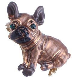 eye pin accessories UK - Cute Pug Dog Brooches Green Eyes Animal Corsage Pins Kids Girls Shirt Coat Clips Brooches Clothing Accessories Jewelry