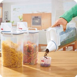 abs plastic stock UK - 2L Plastic Cereal Dispenser Storage Box Kitchen Food Grain Rice Container Bins Organizer Fridge Sealing Food Preservation