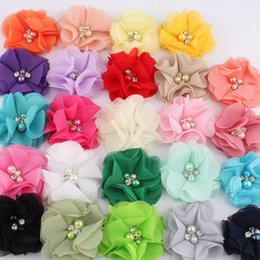 "flower girl rhinestone hair clips Australia - 2"" 16colors Hair Clips Chiffon Flower+Rhinestones And Pearls For Girls Hair Accessories Fabric Flowers For Headbands"