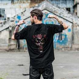 $enCountryForm.capitalKeyWord Australia - Black skull print hip hop tshirt half sleeve men tide brand high quality hole streetwear dance t-shirt men loose sleeves new 2019