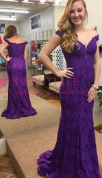 $enCountryForm.capitalKeyWord Australia - 2019 Elegant Purple Off The Shoulder Mother Dresses Full Lace Sweep Train Mermaid Mother Of The Grooms Dresses Formal Evening Occasion Wear