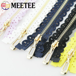 Metal Zips Australia - Meetee 3# 50 60CM Metal Zipper Lace Fabric Gold Teeth Open-end Zip Clothing Luggage Sewing Decoration Accessories AP569