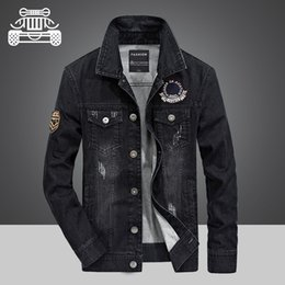 cargo military jacket NZ - Jeep NEW 2018 Denim jacket Mens black 2 colors Military jacket Cargo Plus size M-4XL Casual man brand male