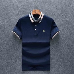 Hand painted tee sHirts online shopping - new Mens Designer Polos Brand small horse Crocodile Embroidery clothing men fabric letter polo t shirt collar casual t shirt tee shirt