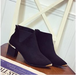 $enCountryForm.capitalKeyWord Australia - New 2019 Autumn Winter Fashion Woman Boots High Heels women Leather Ankle Boots Sexy Pointed Toe Metal Martin Boots