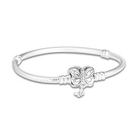 $enCountryForm.capitalKeyWord UK - 925 Sterling Silver Moments Pandora Bracelet Decorative Butterfly Clasp Snake Chain Bangle Fit Bead Charm Diy Europe Jewelry 16cm