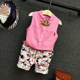 Floral Print Shirts Baby Australia - 2PCS Boys Girls Clothing Set Kids Pink Turn Down Collar Sleeveless Shirt And Floral Printed Short Baby Casual Clothes Children