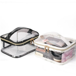 Thermal cloThing black online shopping - 2 Colors Marble Makeup Bag PVC Transparent Large Capactiy Protable Storage Bag White and Black Waterproof Cosmetic Bag CCA10937