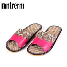 $enCountryForm.capitalKeyWord Canada - Mntrerm Hot Sales 2018 Summer Genuine Cowhide Leather Women House Slippers Flat Flax Shoes Indoor Feminina Sandals Slippers T190708