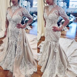 lace backless mermaid wedding dress pearl UK - Vintage Champagne Wedding Dresses Mermaid Crothet Lace Boho Wedding Dress With Detachable Train Long Sleeves Pearls Muslim Bridal Gowns 2020