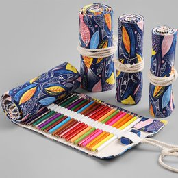 $enCountryForm.capitalKeyWord Australia - Cute Roll School Pencil Case Canvas 12 24 36 48 72 Holes Penal Pencilcase for Girls Boys Big Pen Bag Stationery Pouch Supplies