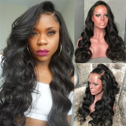 long african hair waves hairstyle Australia - Trending Style For African Americans Body Wave Virgin Indian Human Hair Lace Front Wigs Silk Top Full Lace Wigs For Black Women