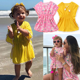 flower swim wear 2019 - Kids Beach Dress 2018 New Summer Baby Girls Dress Beach Cover Up Sundress Flower Fringe Dresses Yellow Pink Tassels Swim
