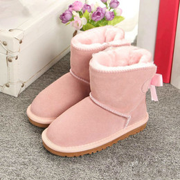 girl flower boots shoes Australia - New Australia Children s Winter Snow Boots kids girl Style Waterproof Cow Suede Leather Winter Girls shoes Outdoor Boots Size EUR 21-35