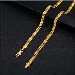 $enCountryForm.capitalKeyWord Australia - 20 pieces lot, Men's Overbearing Necklace 4mm wide 18K gold-plated Necklace Alloy Material Twinkle Don't fade Hip hop Necklace,18 ~ 24 inch