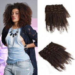 clip extensions for black women 2019 - Hot Sale 4a,4b,Afro Kinky Curly Clip In Extensions 7pcs set Natural Color For Black Women Non Processed Human Hair Lauri