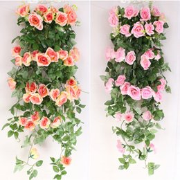 hanging decorative vines UK - 1M Artificial Rose Flower Fake Hanging Decorative Roses Vine Plants Leaves Artificials Garland Flowers Party Wedding Wall Decoration
