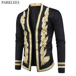 dashiki jackets 2020 - Gold Floral Dashiki Print Cardigan Blazer Men 2020 Traditional African Rich Bazin Jacket Coat Mens Hiphop Casual Africa