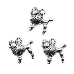 Poodle Pendants Wholesale NZ - 200pcs Charm Dog Dog Poodle Puppy Pendant Charms For Jewelry Making Antique Silver Poodle Puppy Charms 14x14mm