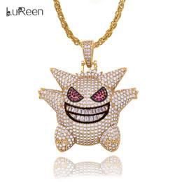 Necklaces Pendants Australia - LuReen Gold Silver Mask Gengar Pendant Necklace 24Inch Hip Hop Iced Out Pendant for Men Women Jewelry Gfit