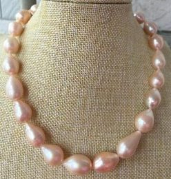 "$enCountryForm.capitalKeyWord Australia - Fine pearls jewelry high quality HUGE 18""14-16mm natural south sea genuine baroque gold pink pearl necklace 14k"