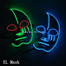 Mask For Face Glow Australia - Halloween Supplies Light Up Glowing El Wire Cute Mask Fashion Women Cosplay Mask Costume For Party Mask Decoration Free Shipping