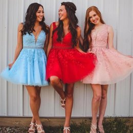 Backless Lace Light Yellow Dress Australia - Light Sky Blue Deep V Neck Lace Appliques Homecoming Dresses Sleeveless Beading Tulle Backless Party Cocktail Dresses Short Prom Dresses