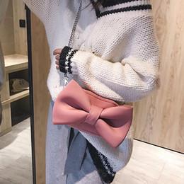 Big Bow Bag Australia - Fashion Sweet Girl Shoulder Bag Party Clutch Women Designer Handbag Quality Velvet Hand Bags Big Bow Chain Crossbody Bag Handbag