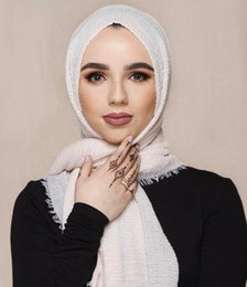 Cotton Muslim Scarfs Australia - Multi-color monochrome crease cotton and linen scarf 180-100 extra long Muslim ladies ring velvet hooded scarf m2