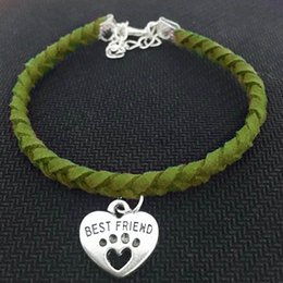 armband jewelry women 2020 - New Braided Green Leather Suede Velvet Rope Wrap Women Men Jewelry Trendy Pets Cat Dog Paw Best Friend Heart Bracelet Ar