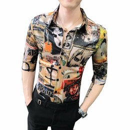 $enCountryForm.capitalKeyWord Australia - Social Shirt for Men Luxury Vintage Flower Half sleeve Fashion Blouse Men's Clothes Summer Men Shirts Hip hop High quality