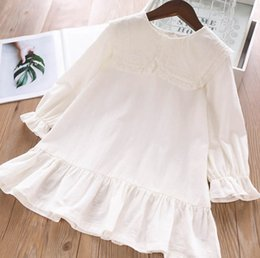 $enCountryForm.capitalKeyWord Australia - 2019 New girls dresses kids lace embroidery lapel flare sleeve princess dress autumn children white falbala dress girl clothes F8968