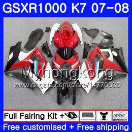 Gsxr fairinG red white online shopping - Bodywork For SUZUKI GSX R1000 GSXR GSXR HM GSX R1000 Body K7 white red stock GSXR1000 Fairing Gifts