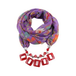 knitted flower scarf UK - European and American Resin Square Pendant Scarves 2019 Brand New Fashion Women Multicolor Flowers Print Voile Scarves & Wraps LSF092